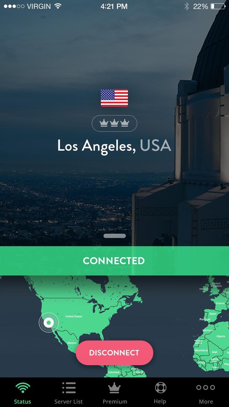 Screenshot dell'app VPN Shellfire per iPhone/iPad